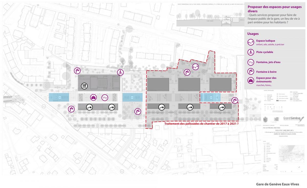 Plan gare de Genève Eaux-Vives